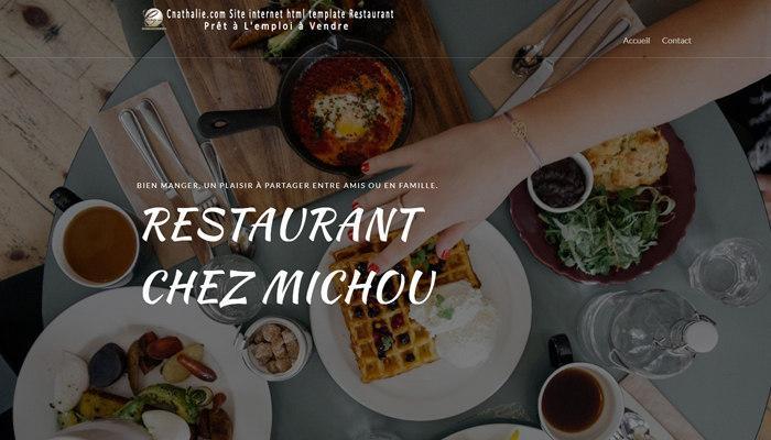 Création Site Web Cnathalie, Site internet html template Restaurant Prêt à L'emploi à Vendre